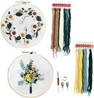 DOITEM 2Pack Stick Starter Kit mit Muster Vollsortiment an gestempelten Sticksets, einschließlich Stickstoff mit Muster, Stickrahmen, Farbfäden und Werkzeugset Blumen und Sonnenblume