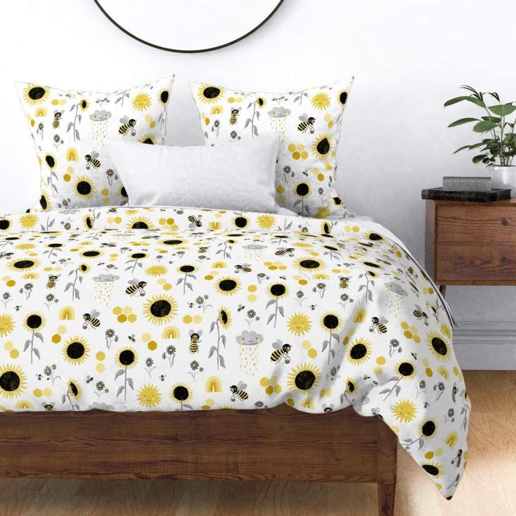 Roostery Duvet Cover Honeybee Max 51% OFF Yellow Raincloud Sunflow Max 48% OFF Sun Bees