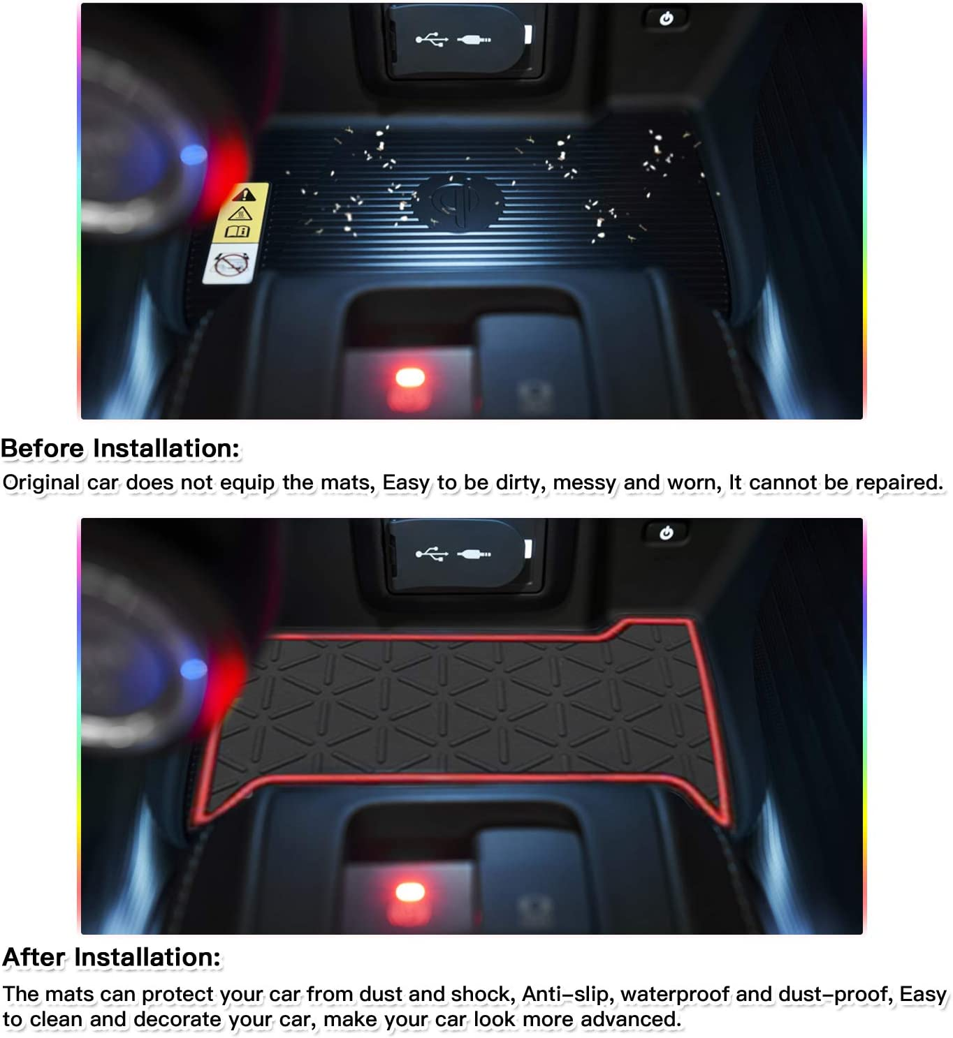 White Door Slot Mat for 2021 Venza Non-Slip Interior Door Groove Gate Pad Fit Toyota Door Compartment Cup Center Console Liners Car Accessory Decoration