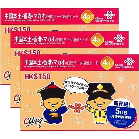 お得な3枚セット!【中国聯通香港】4G 中国SIM (本土31省と香港) 8日利用可能