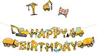 Construction Birthday Party Supplies Banner - Premium Pre-Assembled Happy Birthday Decoration with Dumb Truck Excavator Crane and more for Boys Under Construction Kids Party Theme
