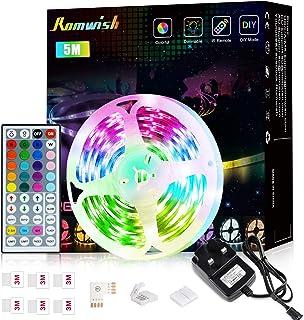 LED Strip Lights with Remote 5M,Romwish Flexible Color Changing Led Lights for Bedroom, 5050 RGB Led Tape Lights with 44ke...