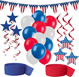 American Flag Party Decorations, Red White and Blue Patriotic Supplies - Pennant Flag Banner, 12 Balloons, 6 Stars and Stripes Hanging Swirls in two styles, Red Crepe Streamer, Blue Crepe Streamer