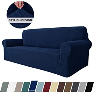 MAXIJIN Super Stretch Couch Cover for 3 Cushion Couch, 1-Piece Universal Sofa Covers Living Room Jacquard Spandex Furniture Protector Dogs Pet Friendly Fitted Couch Slipcover (Sofa, Navy Blue)
