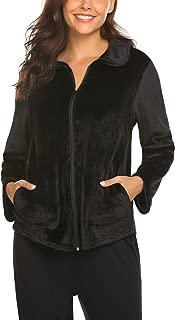 Hotouch Women's Plush Fleece Long Robe Warm Bathrobe or Short Zipper Lounger Robe S-XXL
