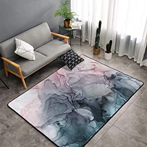Blush and Payne'S Grey Flowing Abstract Marble Painting Anti-Slip Grey Rug Spice Up for Living Room Bed Room Area Rug 4x6