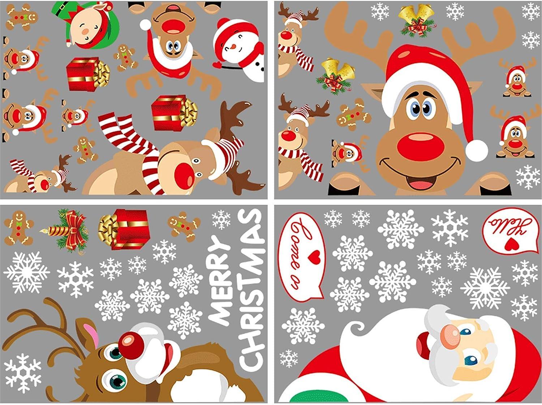 Aisprts Natale Adesivi Porta Natale Vetrofanie Addobbi Rimovibile Adesivi Statico Fai da Te Finestra Sticker Decorazione Babbo Natale Vetrina Wallpaper Adesivi