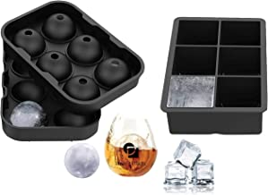 Silicone Ice Mold Trays Set of 2 Large Ice Cube and Ice Ball Tray with Lid