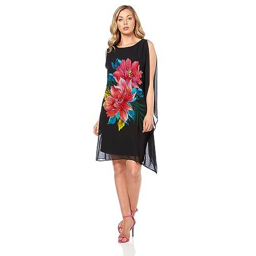 8e2e468092b Roman Originals Women s One Shoulder Floral Placement Print Chiffon Little  Black Dress - Ladies Tropical Summer
