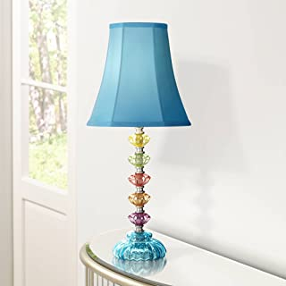 Bohemian Accent Table Lamp Stacked Clear Colored Glass Teal Blue Bell Shade for Kids Room Bedroom Bedside - 360 Lighting