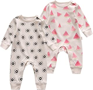 GuGu Love Unisex Baby Infant Organic Long Sleeve Footless Rompers Bodysuits Toddler Nightgowns Sleep and Play