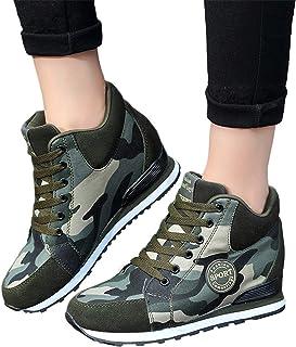 Memefood Zapatillas Planas Mujer Camouflage De Cordones Con Cuña Interior Zapatos Deportivos Casuales Aire Libre Para Corr...