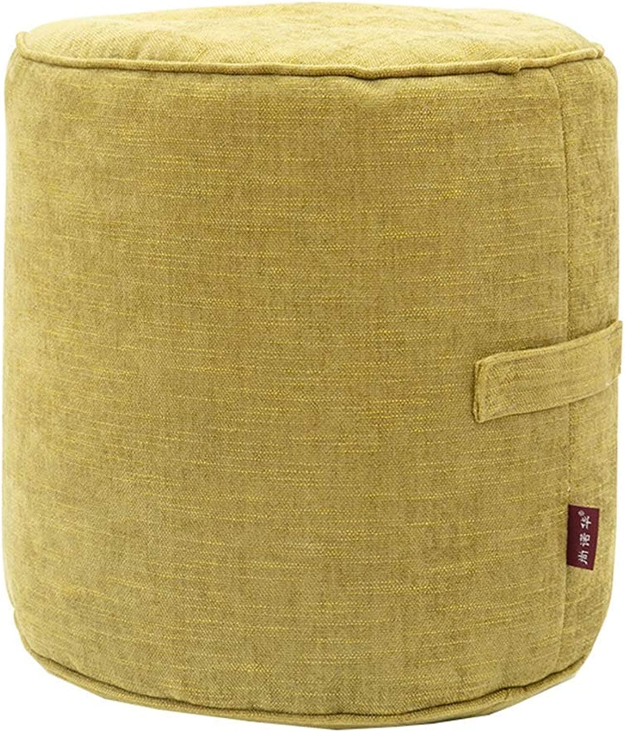 Footstool Sofa Stool, Fabric Living Room Stool, Simple Makeup Stool, shoes Stool, Yellow-Green (40x40×40cm),1