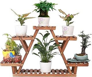 Wood Plant Stand Indoor Outdoor 6 Tiered Corner Plant Shelf Holder Window Flower Rack Succullent Display Shelving for Balcony Garden Planter Organizer (Triangular,Upgrade Screw with Nut Gasket,Cute)