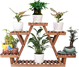 Pine Wood Plant Stand Indoor Outdoor Carbonized Triangle 6 Tiered Corner Flower Rack Plant Shelf Holder for Balcony Garden Planter Pot Organizer Display (Upgrade Screw with Nut Gasket,Stable)