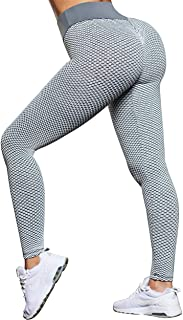 OMKAGI Sexy Butt Lifting Workout Leggings for Women Textured Booty High Waist Yoga Pant