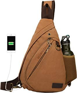 ANBENEED Canvas Travel Casual Sling Bag Triangle Crossbody Chest Backpack Daypack For Men & Women With USB Charger (coffee)