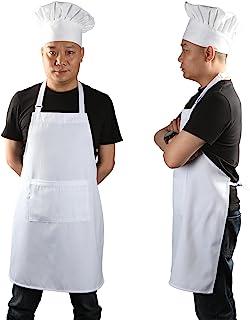 Chef Apron Set, Chef Hat and Kitchen Apron Adult Adjustable White Apron with Butcher Hat Baker Costume Kitchen Pocket Apro...