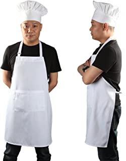 Chef Apron Set, Chef Hat and Kitchen Apron Adult Adjustable White Apron with Butcher Hat Baker Costume Kitchen Pocket Apron for Men and Women, 1 Set (33