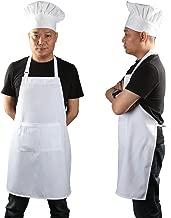Chef Apron Set, Chef Hat and Kitchen Apron Adult Adjustable White Apron with Butcher Hat Baker Costume Kitchen Pocket Apron for Men and Women, 1 Set (33