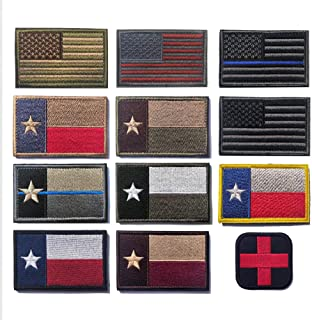 12 Pieces Tactical Military Morale Patch Set, USA Flag Patches and Texas Flag Patches (Mix 12)