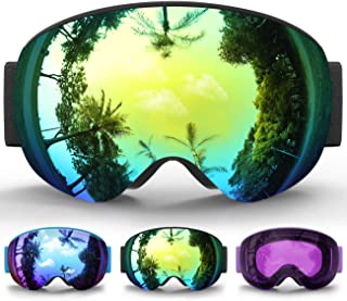 Kids Ski Goggles, Kids Snow Snowboard Goggles for Boys Girls Youth Age 6-14,Magnetic Interchangeable Double Lens,100% UV400 Protection,Helmet Compatible,Over Glasses OTG Design
