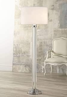 Cadence Modern Floor Lamp Steel Crystal Glass Column Linen Drum Shade for Living Room Reading Bedroom Office - Possini Euro Design