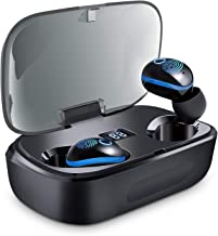 True Wireless Earbuds, Whew TWS Bluetooth 5.0 Headphones in Ear Wireless Earphones, Touch Control, Auto Pairing, Intelligent LED Display, IPX5 Waterproof, 100H Playtime with 3000mAH Charging Case