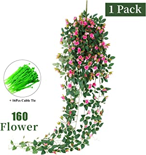 Tifuly Guirnalda de Rosas Artificiales de 1 Pieza, 5 pies Colgante de Rosas Falsas Flores de Pared Vid con Hojas de Hiedra para la Sala del hogar Jardín Boda Restaurante Decoración (Fucsia)