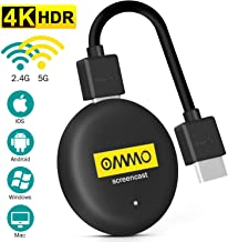 OMMO 4K HDR Wireless HDMI Display, 5G&2.4G WiFi Dongle Wireless, para Android / iOS / Windows / Mac a HDTV / Monitor / Proyector, Soporte Miracast / DLNA / Airplay
