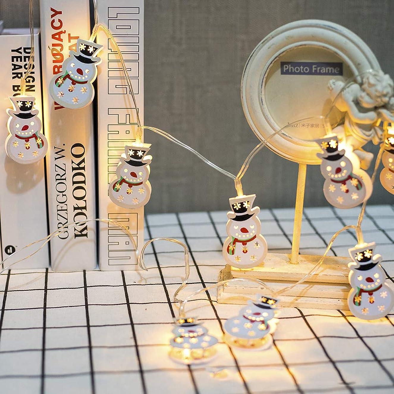 道に迷いました受益者懺悔爆発クリスマスライトストリングLEDアイアンアート塗装ベルエルクバッテリーボックスライトストリングフェスティバルパーティー装飾ライト屋外クリスマスランタンギフト (3M, 雪だるま-2)