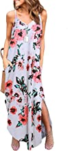 Sleeveless Strappy Cami Maxi Long Dress V Neck with Pockets Casual Beach Skirt Cover Up Slits