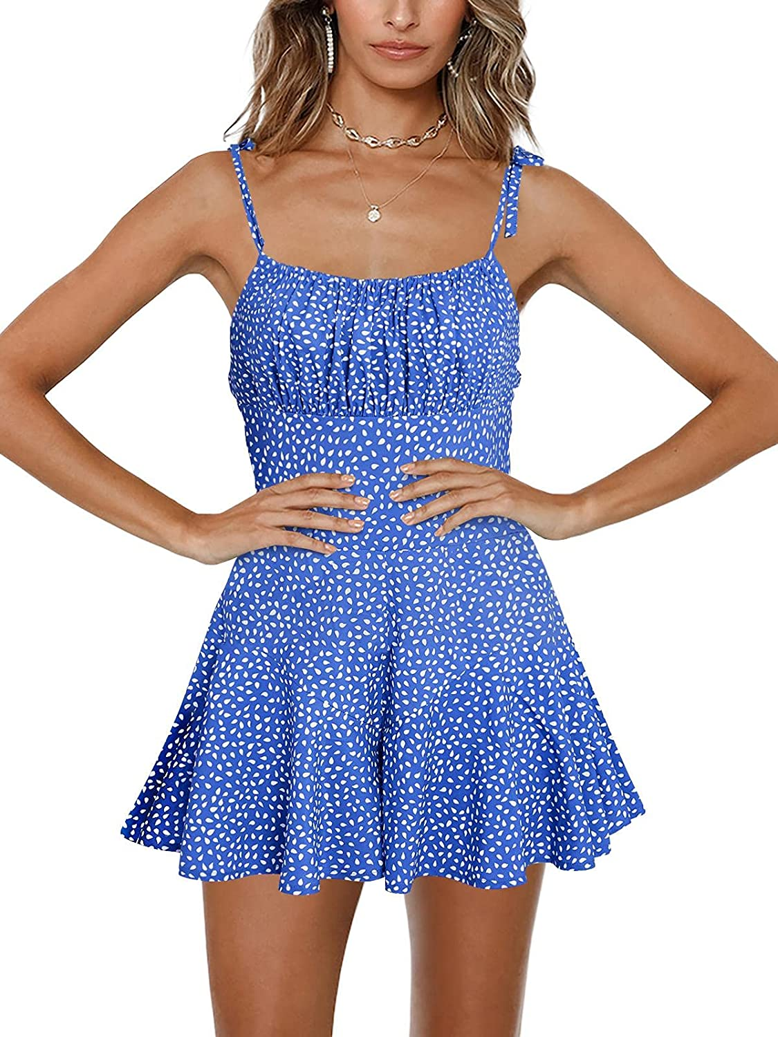 Jeanewpole1 Womens Spaghetti Outlet sale feature Bombing free shipping Strap Print L Wide Jumpsuit Smocked