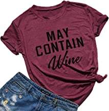 May Contain Wine T Shirt Alcohol Shirts Womens Letter Print Tops Funny Drinking Shirt Casual Short Sleeve Graphic Tees Top