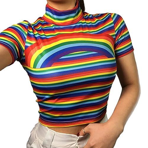 e2b611da75 ZMLIA Womens Cute Rainbow Short Sleeve Crop Top Turtle Neck Striped T-Shirt  Tee Tops