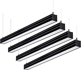 LEONLITE 4ft 0-10V Dimmable LED Linear Light, 4600lm Linkable Suspension Lighting Fixture, 40W (230W Eq.), UL & DLC, 4000K Cool White, for Office, Market, Garage, 5 Years Warranty, Pack of 4 - Black