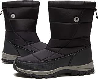 Mens Womens Winter Ankle Snow Hiking Boots Warm Water Resistant Non Slip Fur Lined Drawstring Cold Weather Mid-Calf Boot