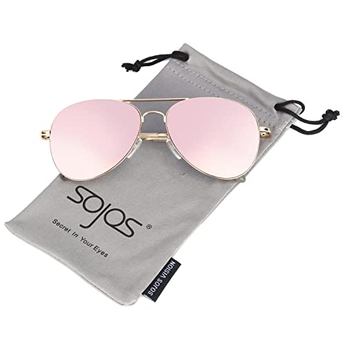 ed85b9cd655 SOJOS Classic Aviator Mirrored Flat Lens Sunglasses Metal Frame with Spring  Hinges SJ1030