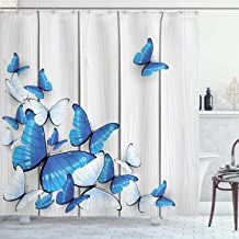 Ambesonne Butterflies Decoration Shower Curtain Set, Butterflies On Wooden Background Timber Wall Table Board Traveling Lifestyle, Bathroom Accessories, 69W X 70L Inches