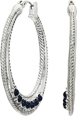 Rope Textured Lapis Hoops Earrings