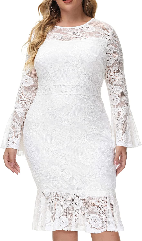 Hanna Nikole Women's Elegant Bell Sleeve Wedding Guest Floral Lace Cocktail Party Fishtail Dresses