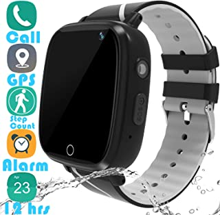 """Kids Smartwatch GPS Tracker Gadget - 2019 Waterproof Children Smart Watches with 1.4"""" Touch Screen 12 hrs SOS Phone Call Talkie Walkie Pedometer Fitness Sports Band for Boys Girls Age 4-12 (Black)"""