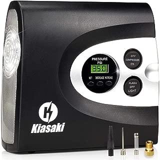 Kiasaki ONE Day Sale Digital Tire Inflator for Car W/Pressure Gauge - Portable Air Compressor - Electric Auto Pump | Easy to Store - Auto Shut Off - 12V DC - 3 Attachments – Bonus Carrying Case