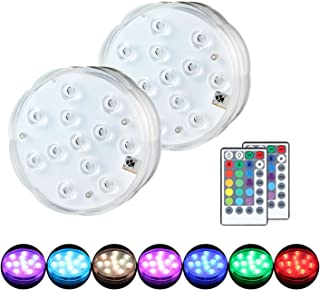 Updated Submersible LED Grow Lights, Aolvo 12 Leds RGB LED Grow Light Battery Operated with Remote Control for Fountain Pool Fish Tank Aquarium (Set of 2)