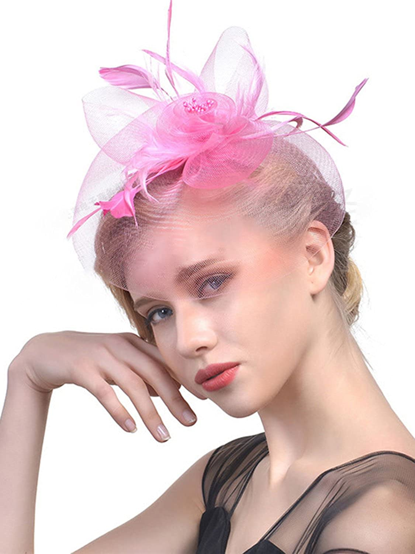 Fascinators Las Vegas Mall Hat for Women Tea Flower Party Feather Headband Mesh Dedication