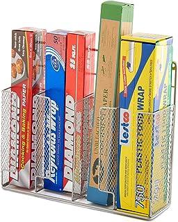 EZOWare étagère cuisine en métal panier organiseur, mural à coller pour ranger le papier aluminium, sachets à sandwich et ...