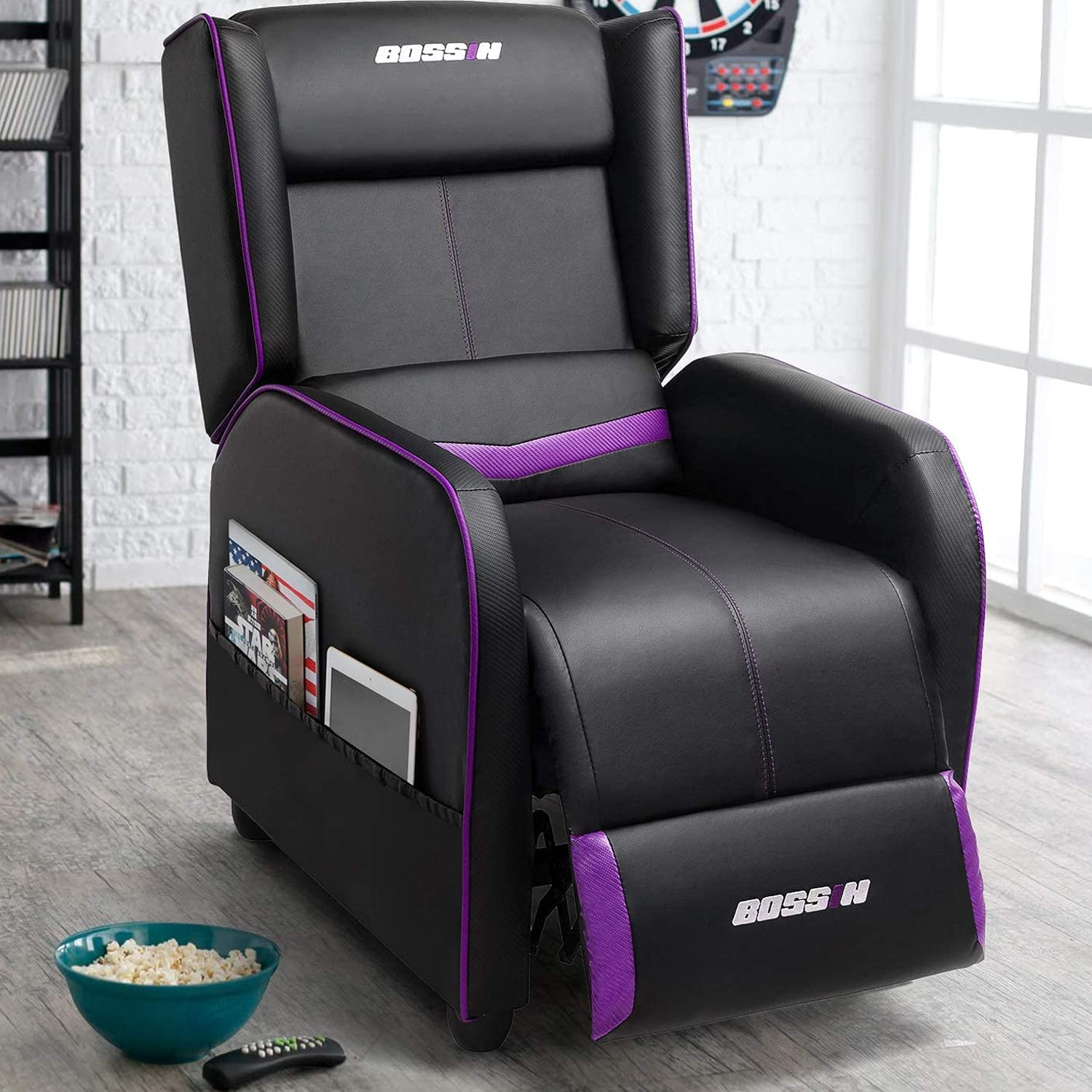 depot Lemberi Gaming Recliner Chair for Adults Theater Rapid rise Leather Home PU