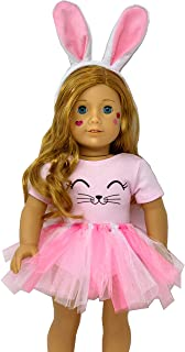 My Genius Dolls Bunny Doll Clothes. Fits 18 Inch Dolls Like Our Generation, My Life and American Girl Doll. Accessories, Outfits Handmade| Bunny Ears, Tutu with Pom Pom and Cute Stickers