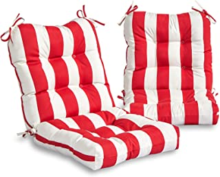 South Pine Porch AM6815S2-CABANA-RED Outdoor Seat/Back Chair Cushion, Set of 2, Cabana Red Stripe