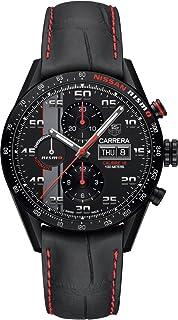 Tag Heuer Caliber 16 Chronograph Black Dial Black Leather Mens Watch CV2A82.FC6237